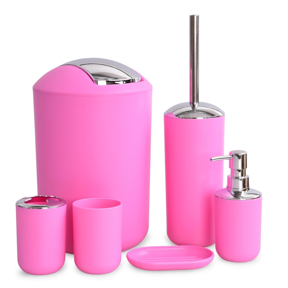 6 dílný koupelnový set pastelově růžový
