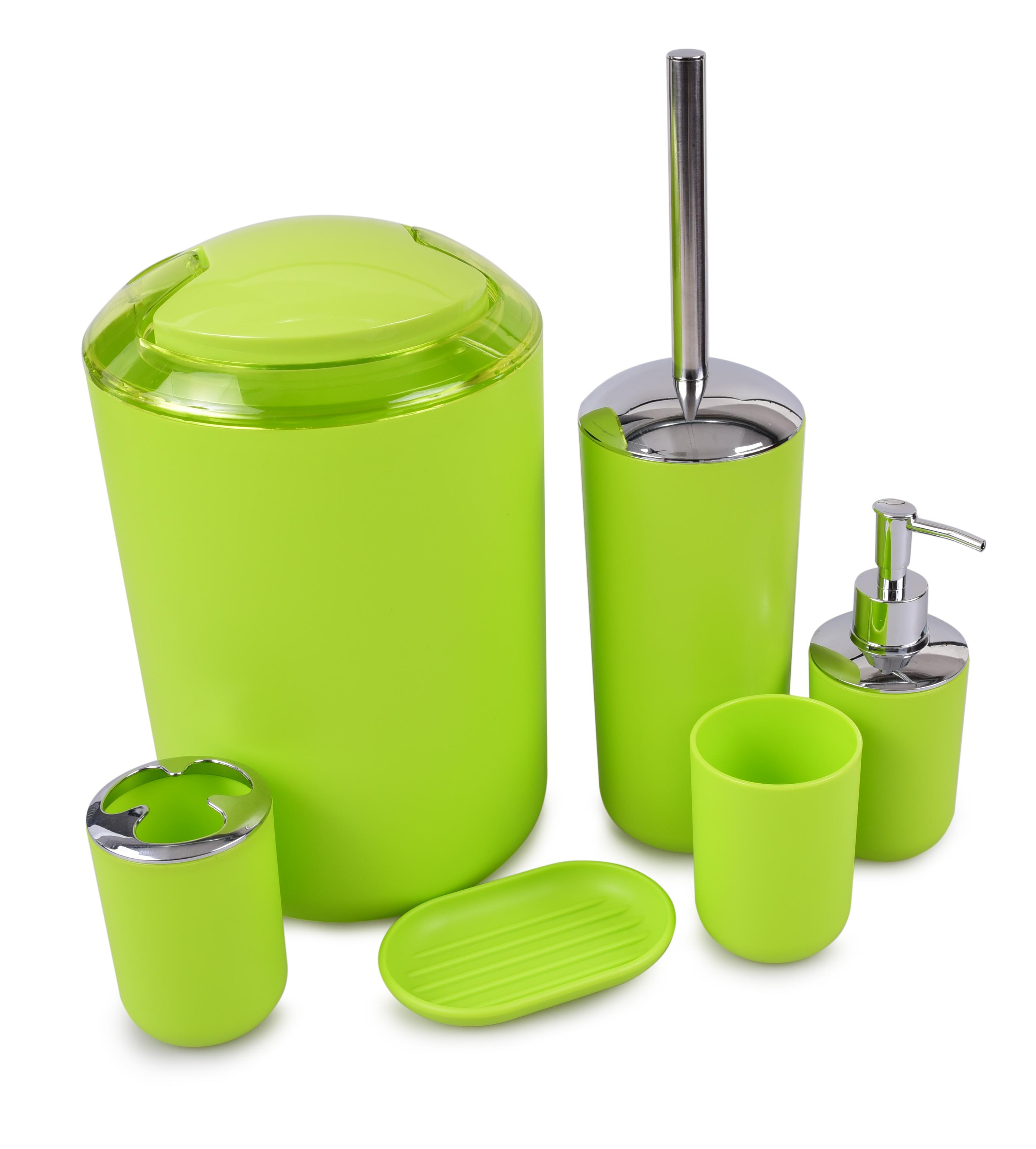 6 dílný koupelnový set jasně zelený