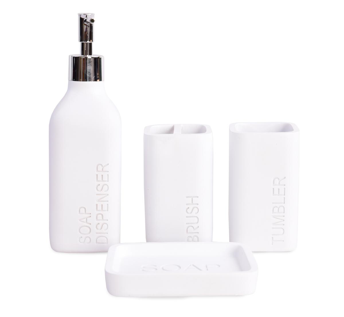 SOAP DISPENSER koupelna 4 dílná souprava matná bílá