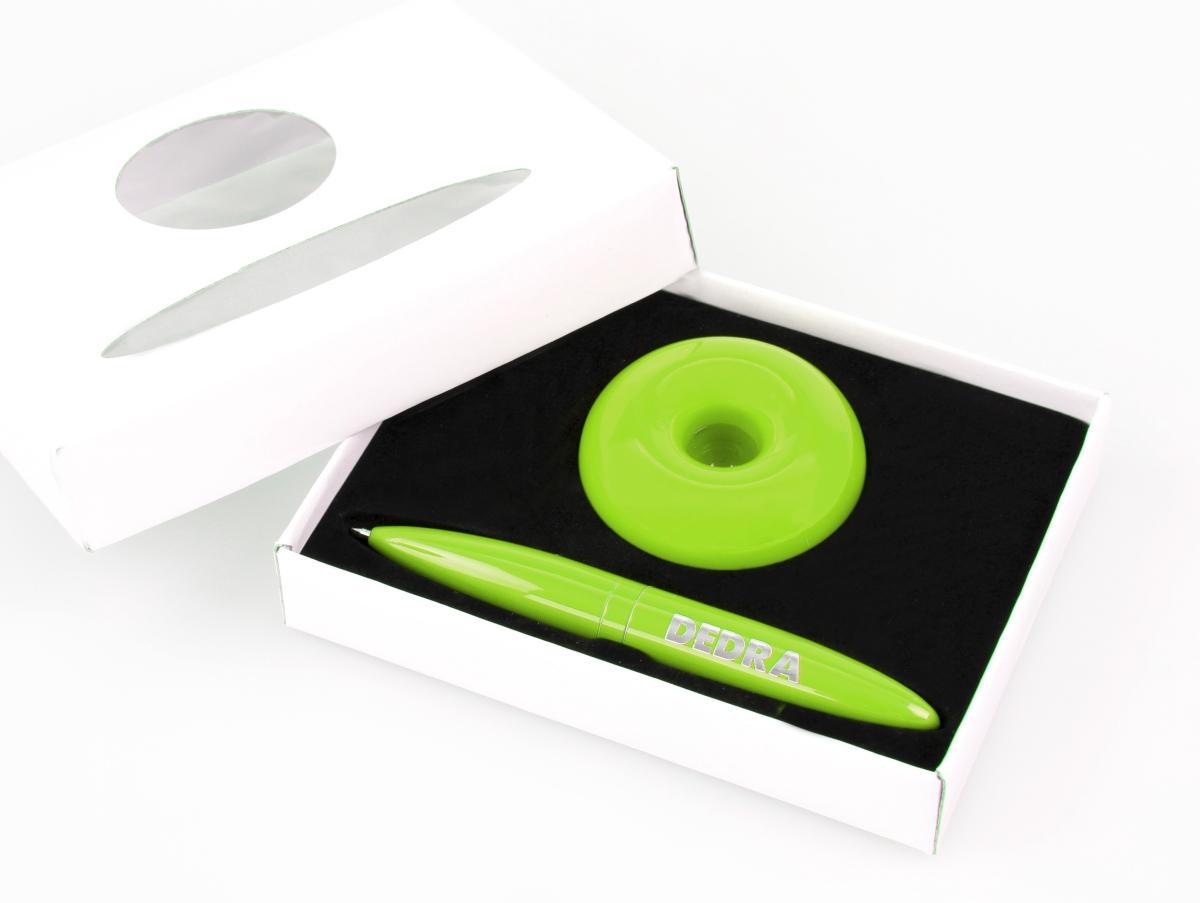DA13211-Levitujúce guličkové pero s magnet. stojanom jasne zelené