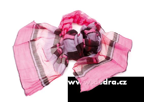 Vzdušný šáls žoržetovou strukt.růžovo-černý