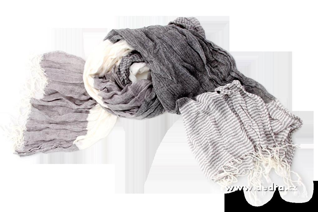 Šál mačkaný s třásn. šedobílý 195 x 70 cm
