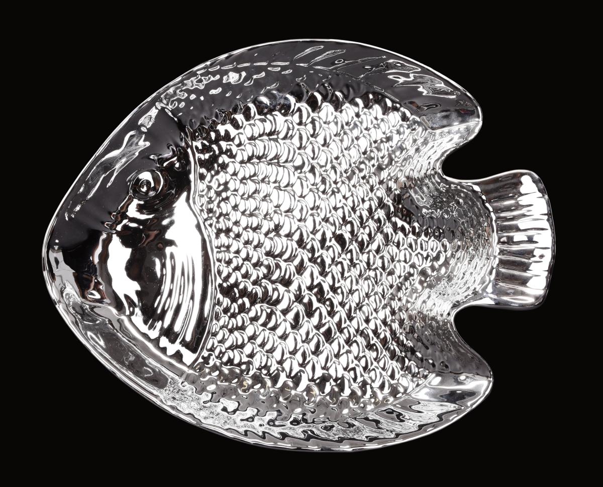 Keramický tác ve tvaru ryby ve stříbrné barvě
