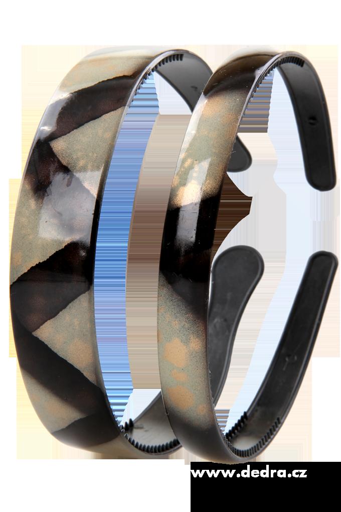 2ks čelenek do vlasů černo-bílo-zlaté š.: 2,5 cm + 1,5 cm