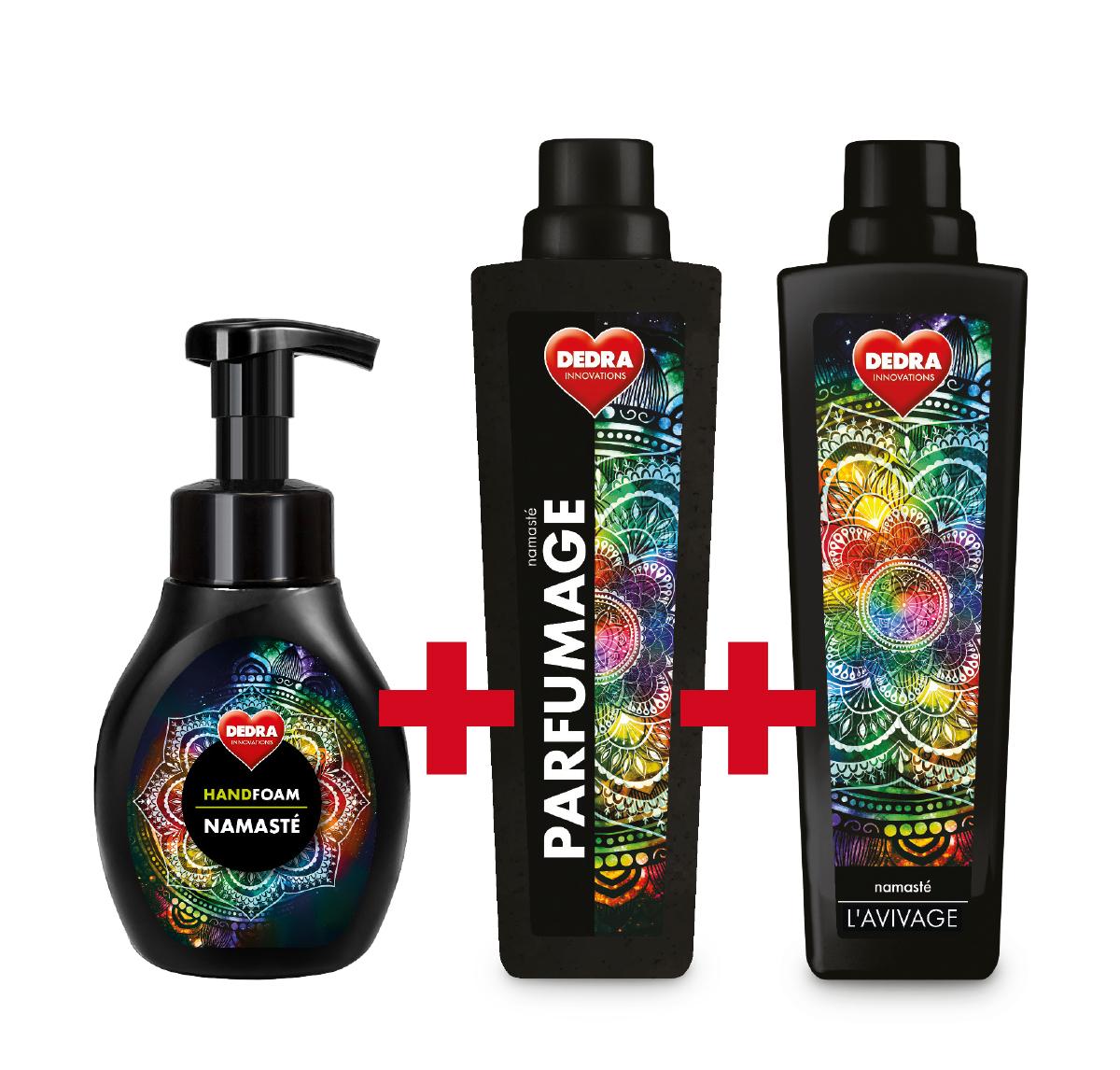 SADA NAMASTÉ 2+1 ZDARMA, pěnové mýdlo, parfémový super-koncetrát + avivážní kondicionér