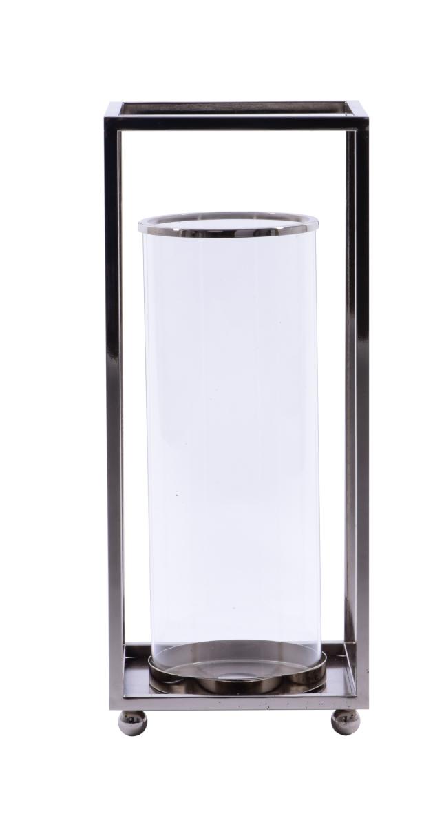 Nerezová lucerna čtvercová ve stříbrné barvě