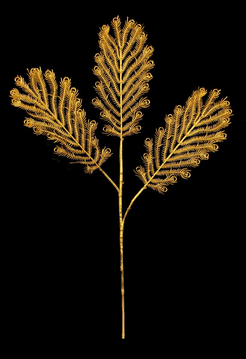 Paví peří 3 dílné, zlaté délka cca 70 cm
