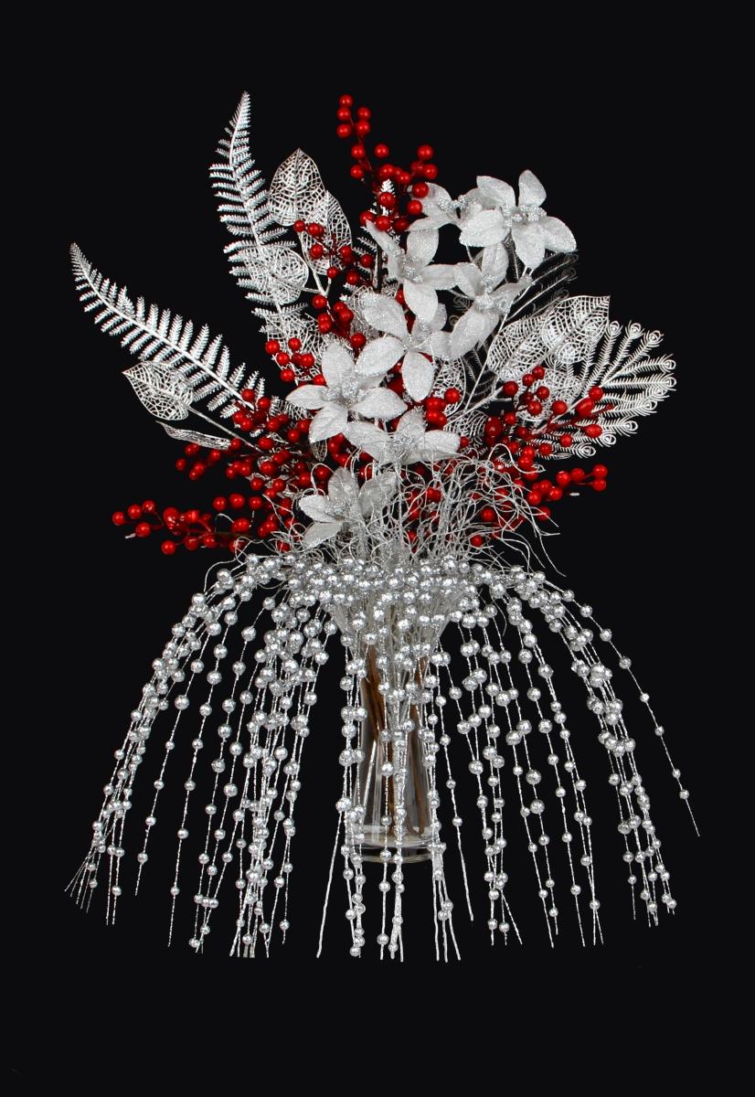 DA98561-3 dielna ratolesť s listami lipy, strieborná dĺžka cca 70 cm