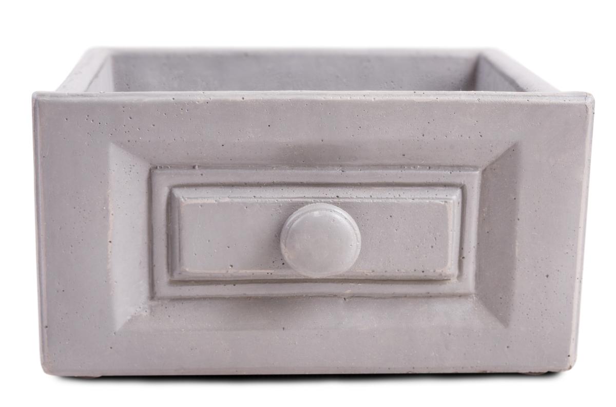 DA97932-Kameninový obal na kvetináč obdĺžnikový, sivý
