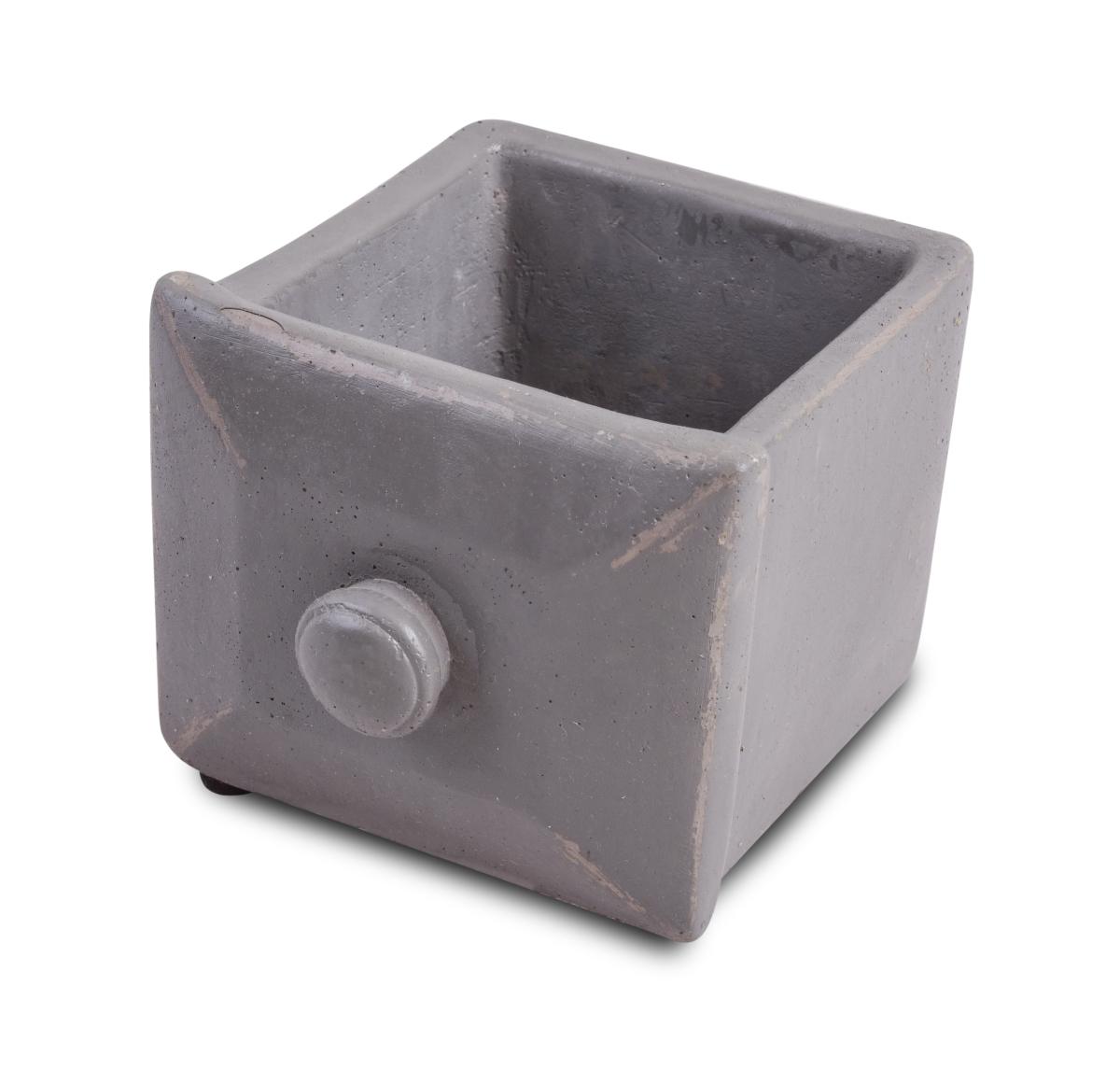 Kameninový obal na květináč  čtvercový, šedý