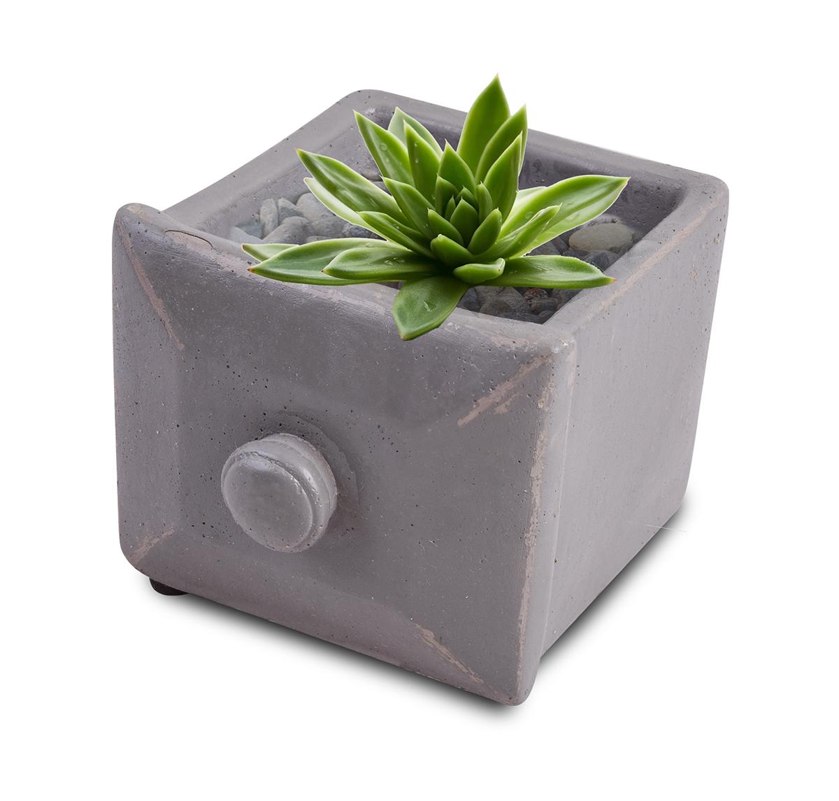 DA97922-Kameninový obal na kvetináč štvorcový, sivý