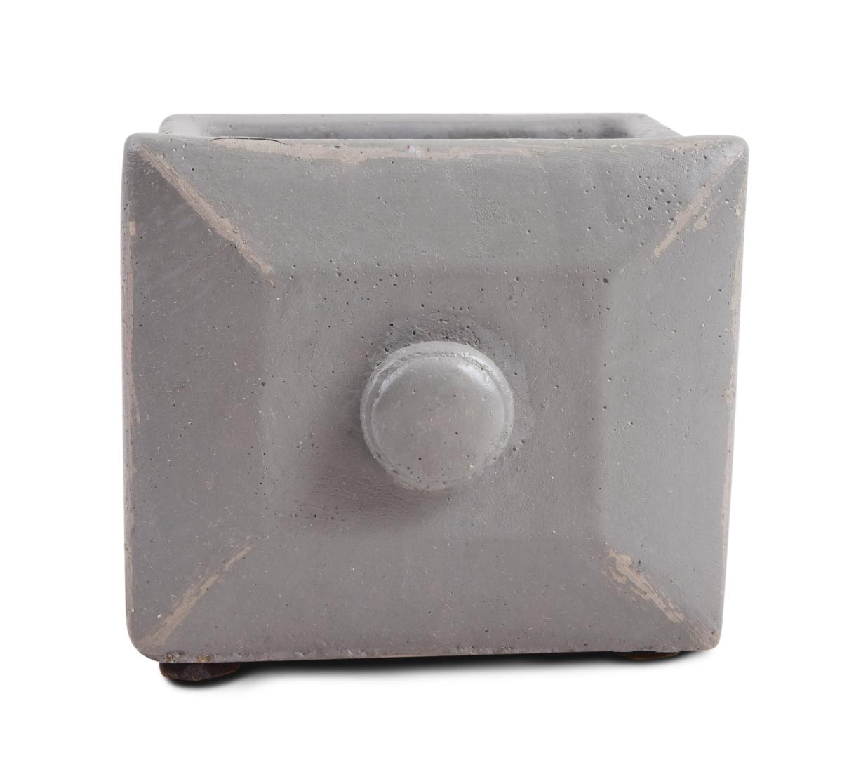 DA97912-Kameninový obal na kvetináč štvorcový, sivý
