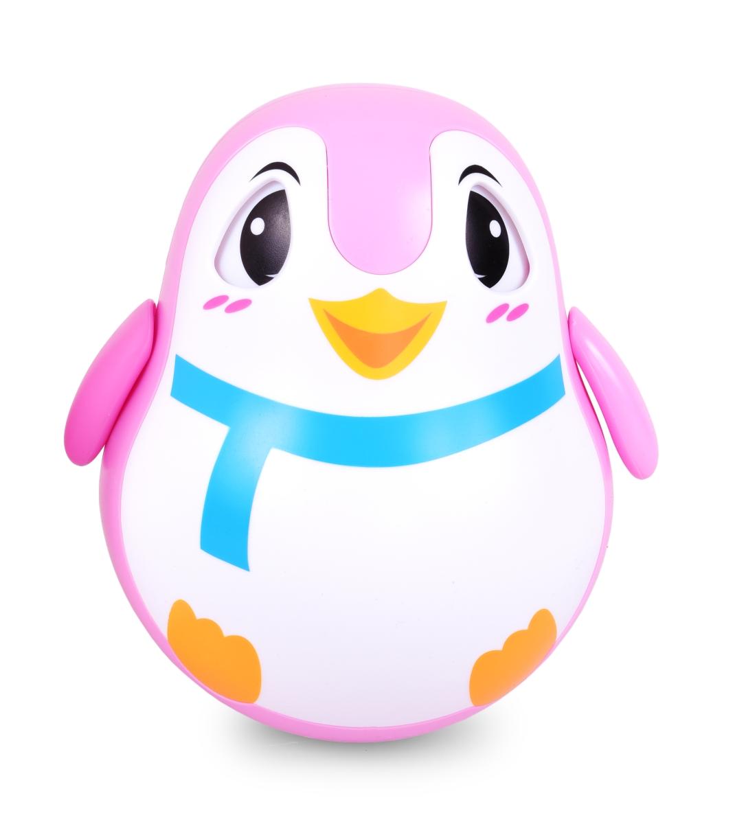 Veselý tučňák kývací, s pohyblivýma očima růžový