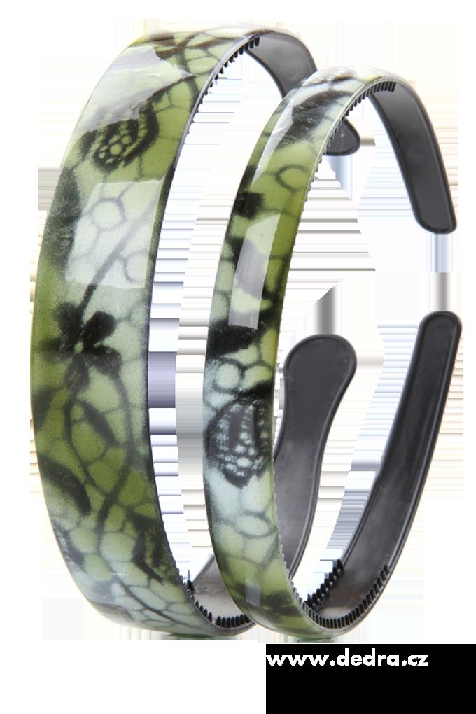 2ks čelenek do vlasů odstíny zelené š.: 2,5 cm + 1,5 cm