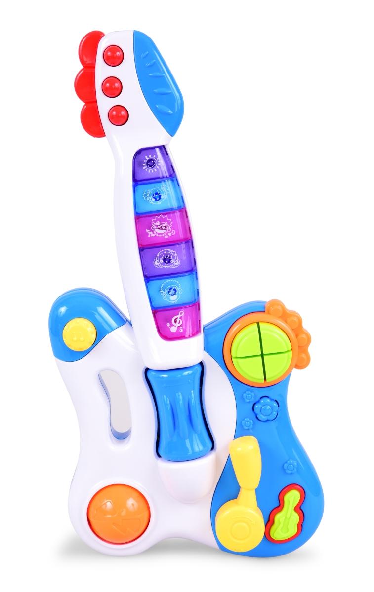 Dětská kytara se světelnými efekty bílo modrá