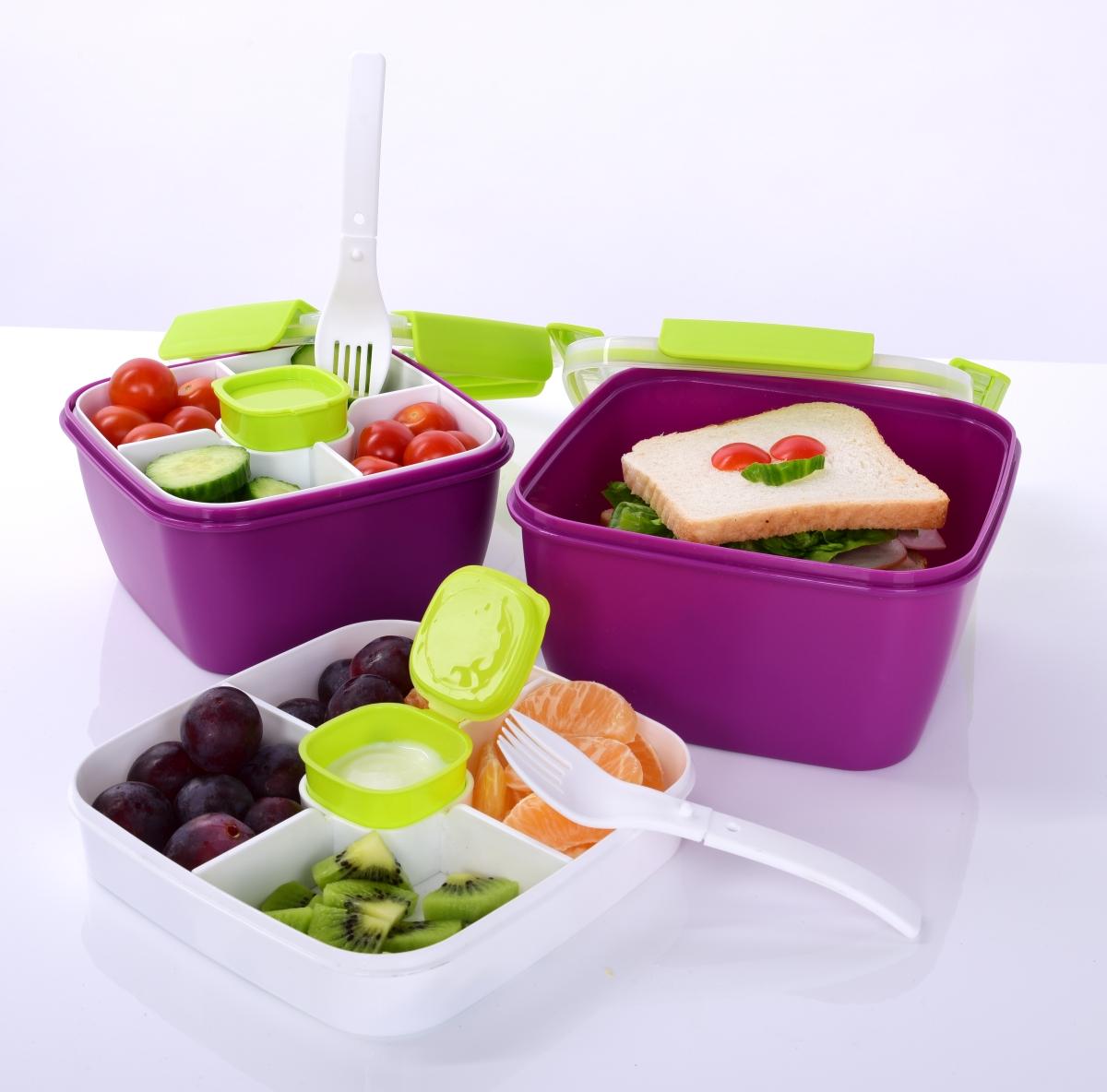 SILIBOX JÍDLOTRANSPORTÉR na přenášení salátů a jídel, s vnitřní miskou a dózičkou na dresing