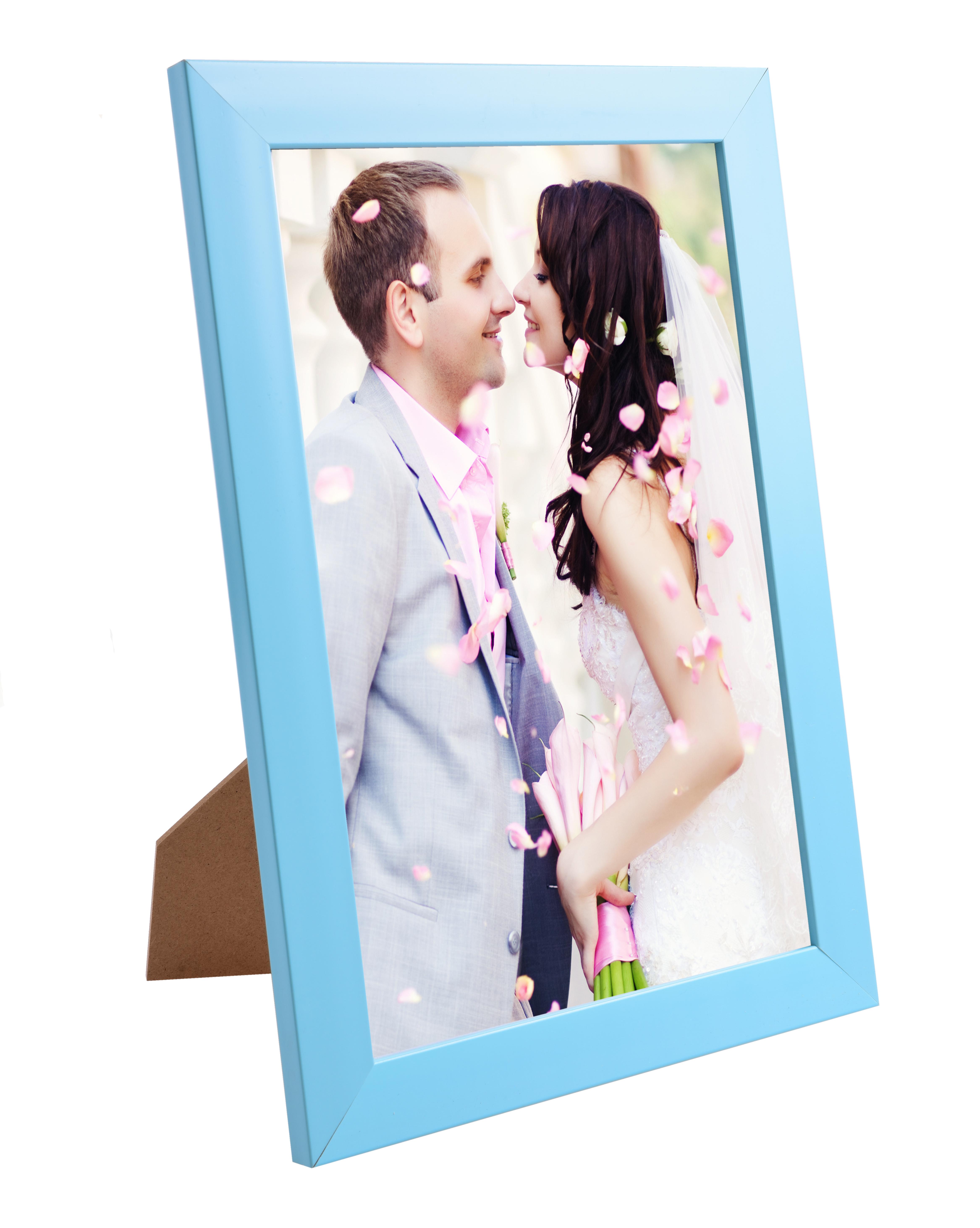 Dřevěný fotorámeček světle modrý na foto 21 x 30 cm