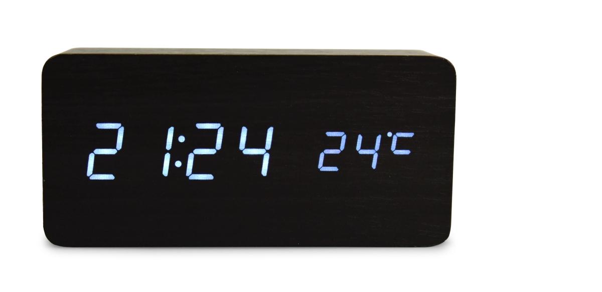 WOODOO CLOCK digitální LED dřevěné hodiny černé
