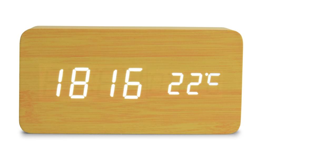 WOODOO CLOCK digitální LED dřevěné hodiny světlé dřevo