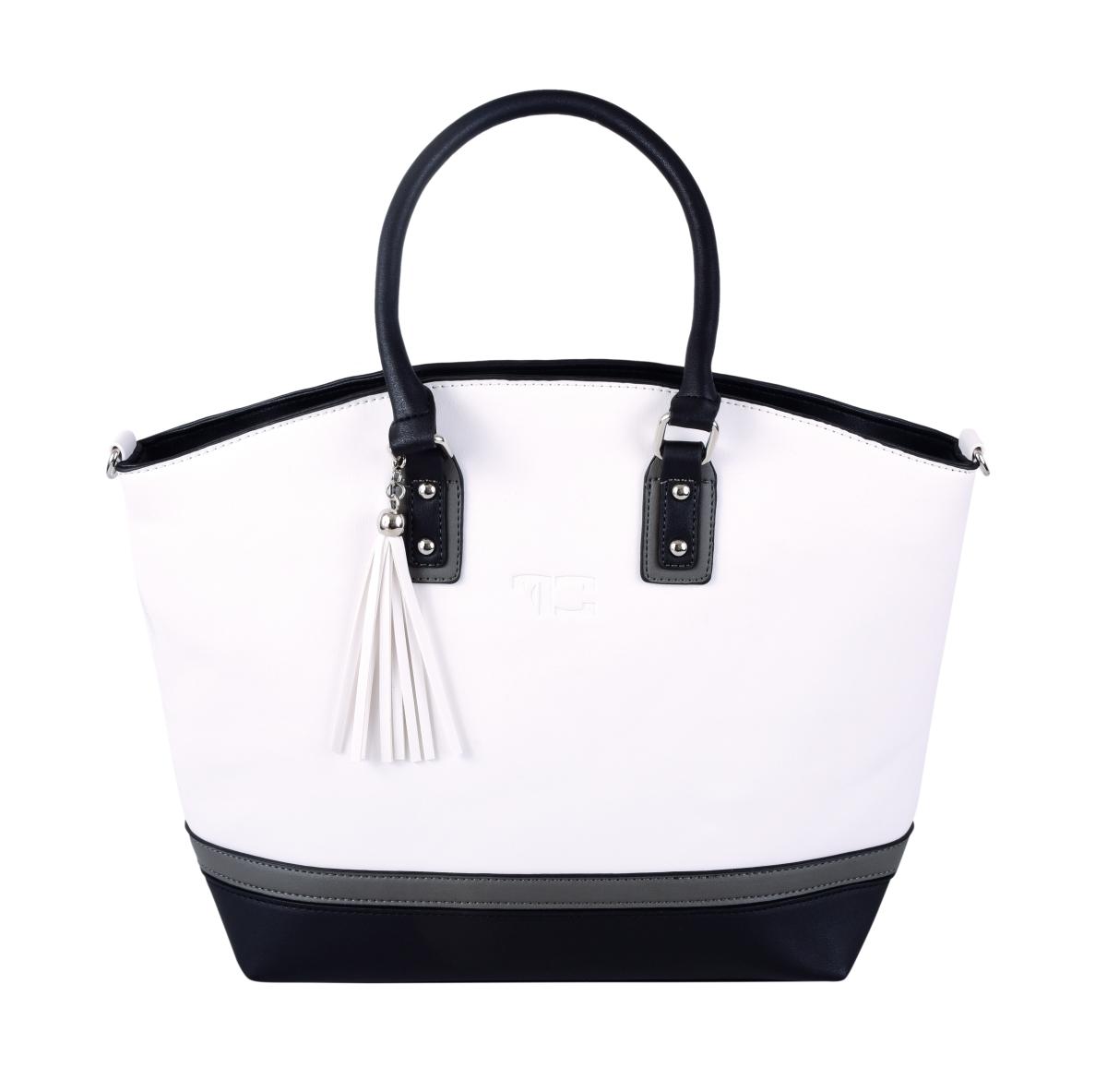 TRINITY kabelka z ekokůže bílo-šedo-černá