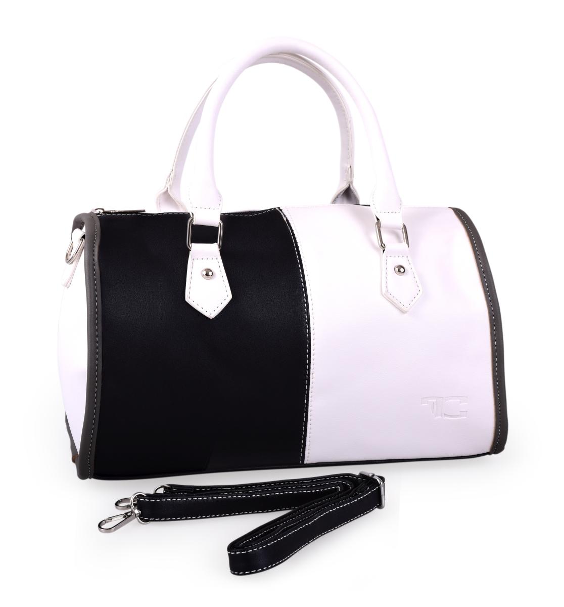 FC20042-MYSTIQUE kabelka z ekokože čierno biela