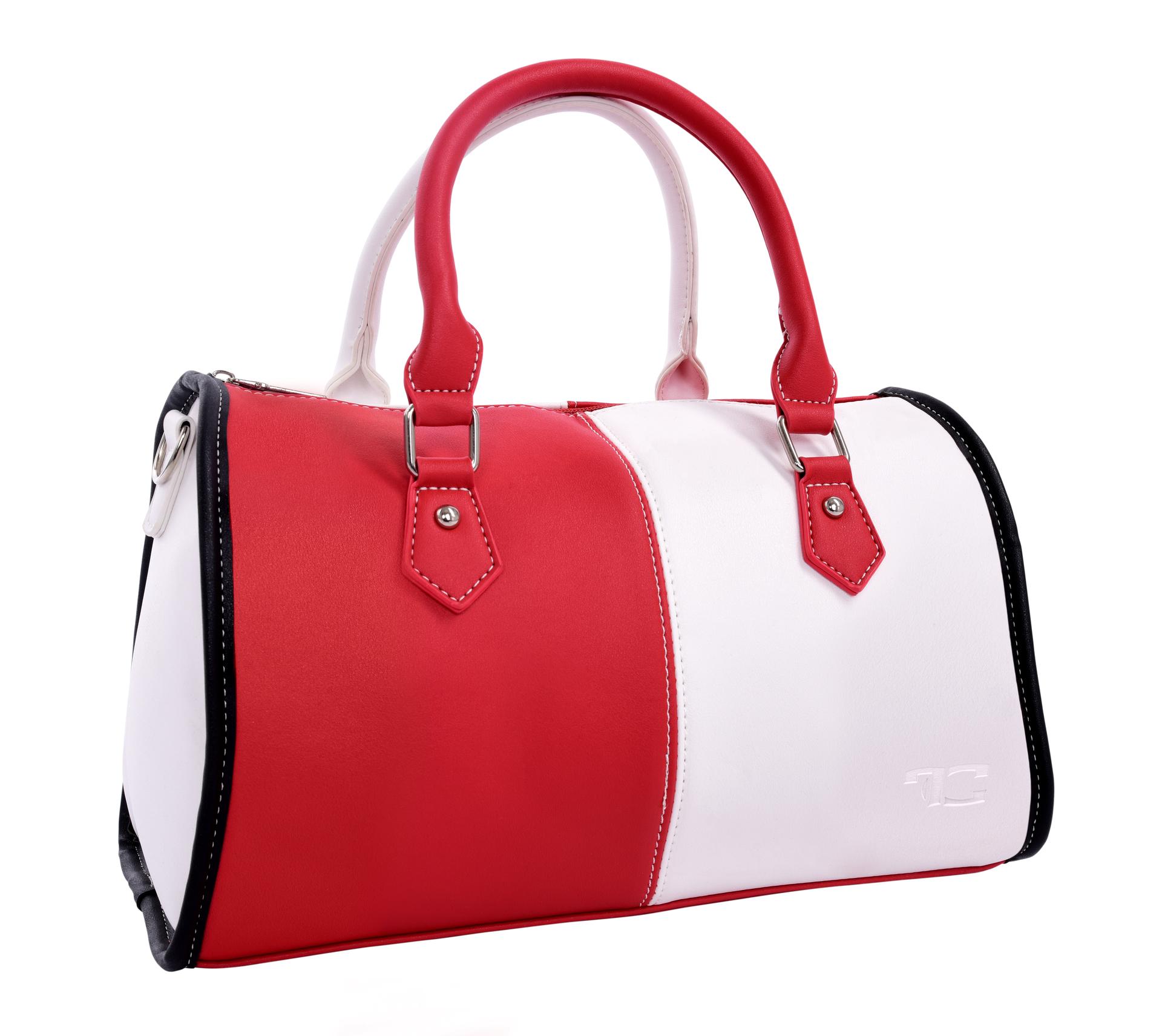 MYSTIQUE kabelka z ekokůže uzavíratelná na zip s pevným dnem červeno-bílá