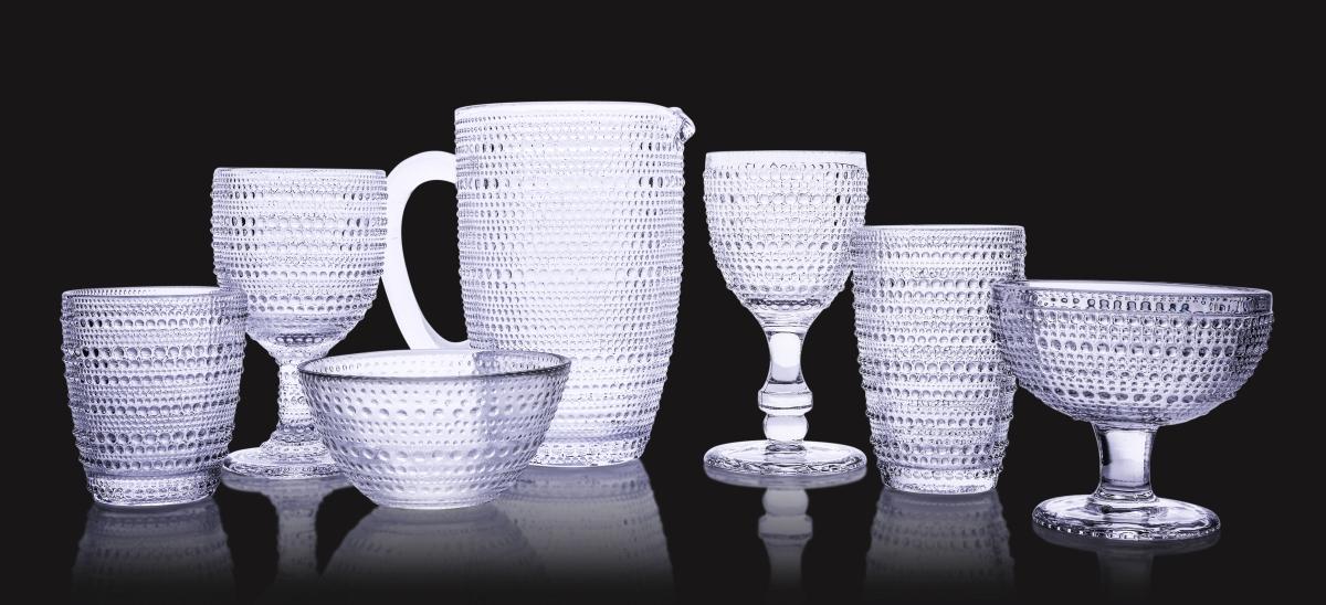 FC20082-XL Sklenený pohár s reliéfnym povrchom objem 340 ml
