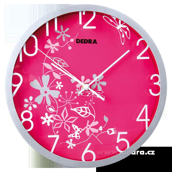 Nástěnné hodiny růžové s ornamenty quartzový strojek