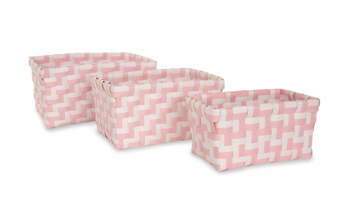 Sada 3 košíků z plastového výpletu světle růžová