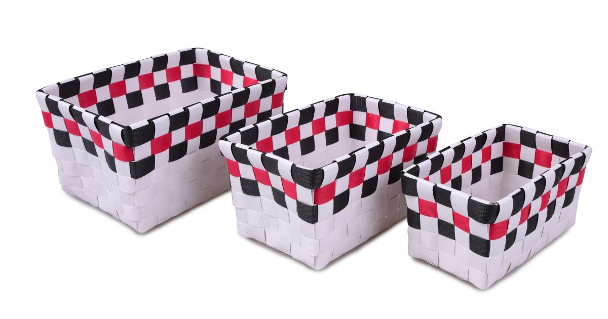 Sada 3 košíků bílo šedá  s malinový páskem
