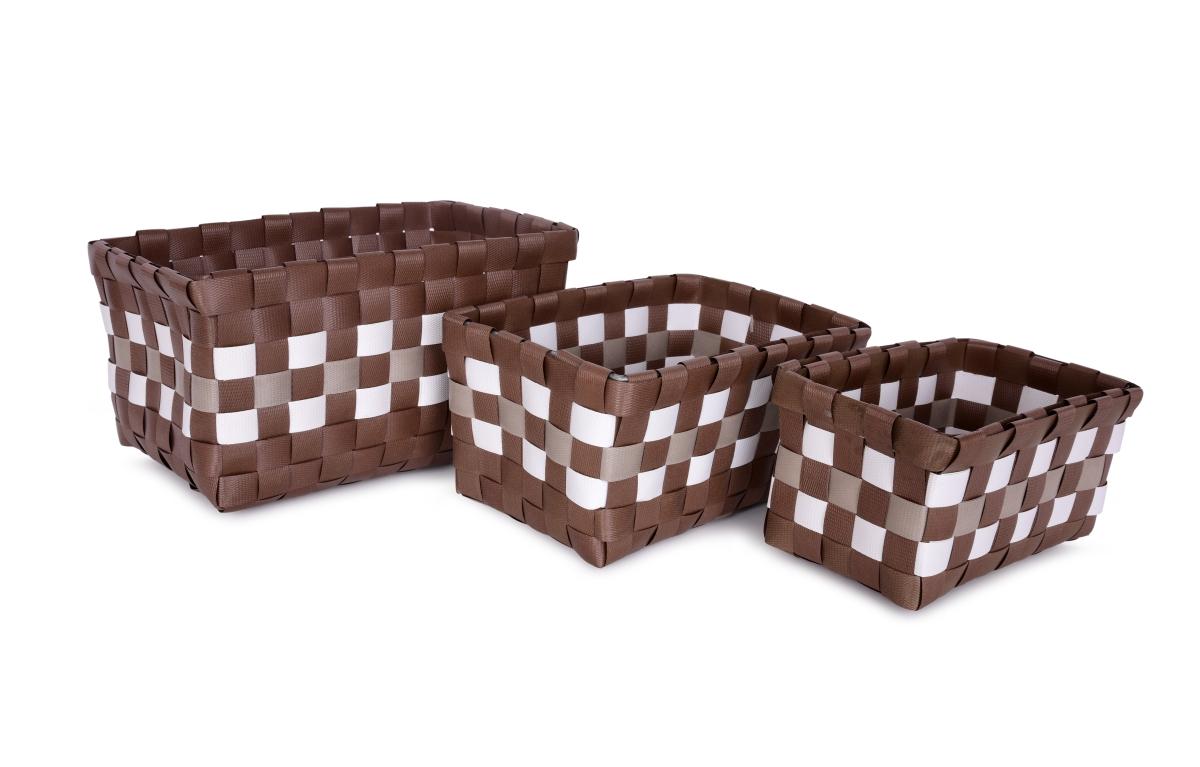 Sada 3 košíků z plastového výpletu čokoládová