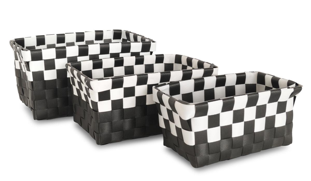 Sada 3 košíků z plastového výpletu černá