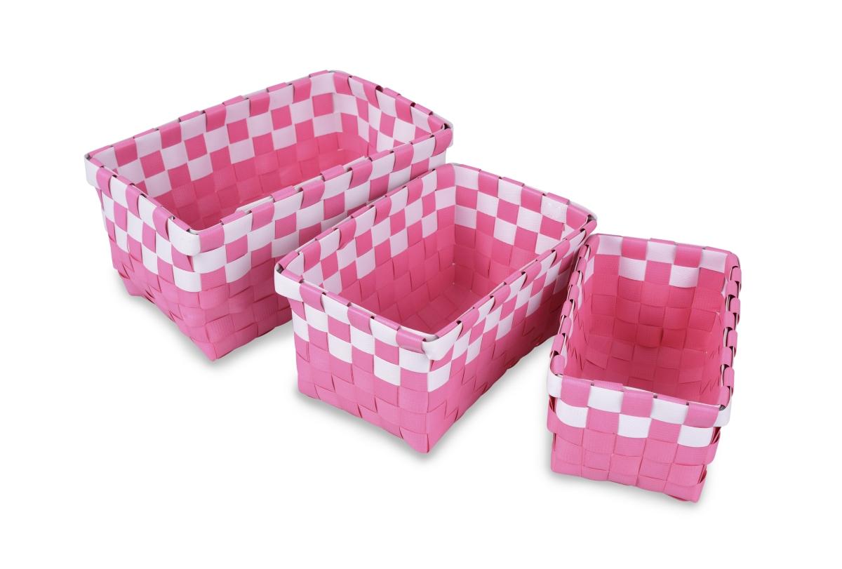 Sada 3 košíků z plastového výpletu růžová