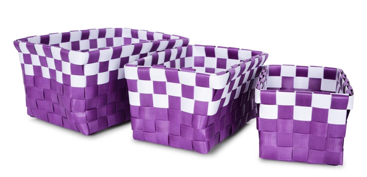 Sada 3 košíků z plastového výpletu šeříkově fialová