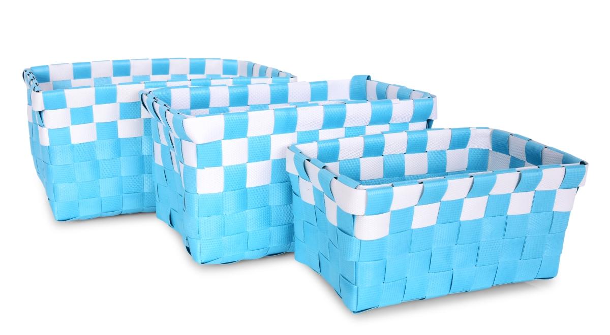 Sada 3 košíků z plastového výpletu tyrkysově modrá