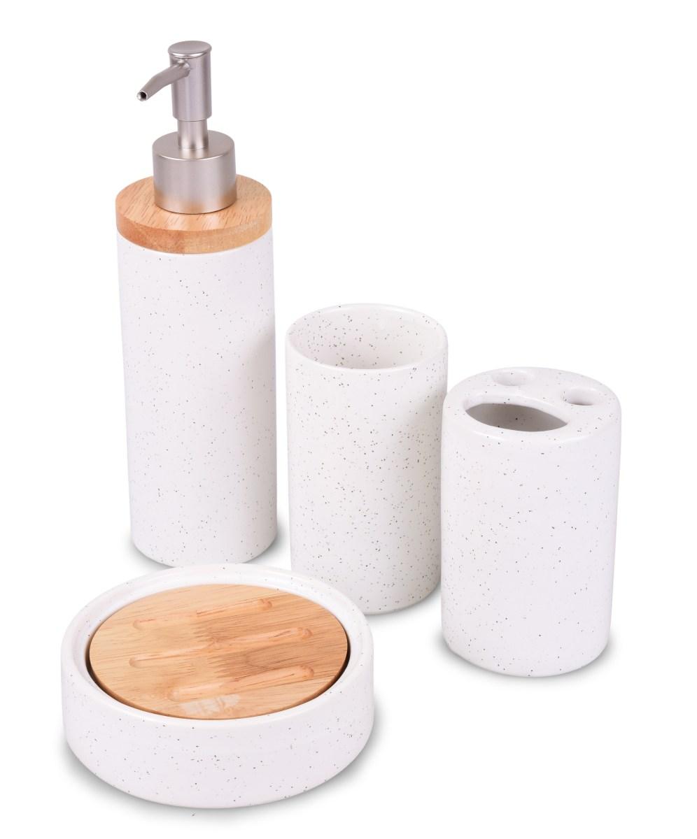 BLACK DOTS&BAMBOO 4 dílná keramická souprava do koupelny