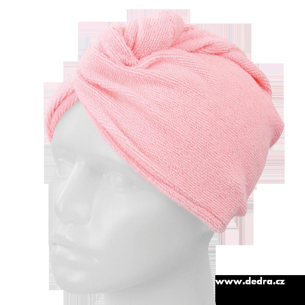 2 ks turban na vysoušení vlasů růžovo šeříkový