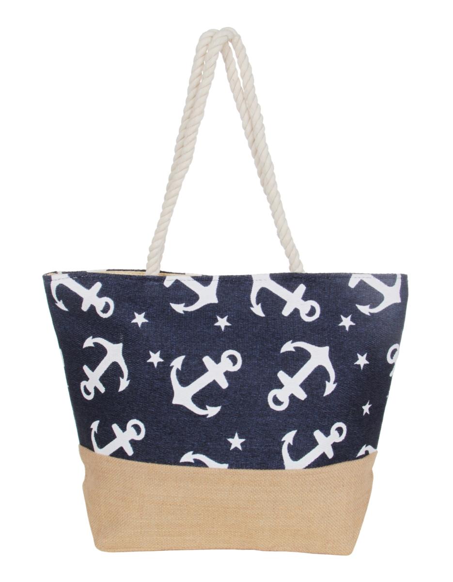 ANCORA kabelka z přírodního výpletu  modrá