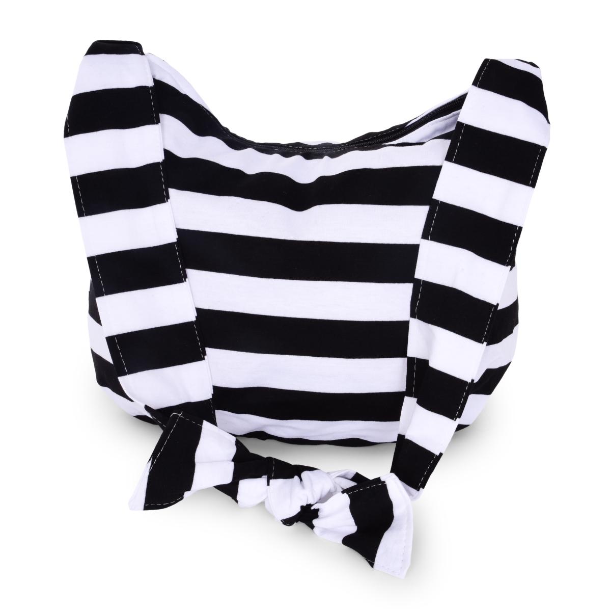 STRIPES pruhovaná textilní kabelka  black & white