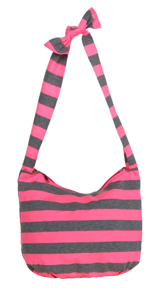 STRIPES  pruhovaná textilní kabelka  pink&gray