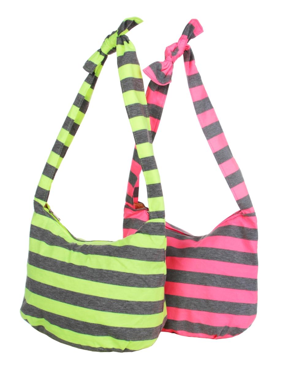 FC20922-STRIPES pruhovaná textilné kabelka pink & gray
