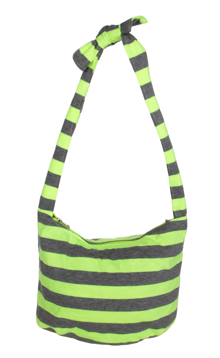 STRIPES  pruhovaná textilní kabelka  neon yellow&gray