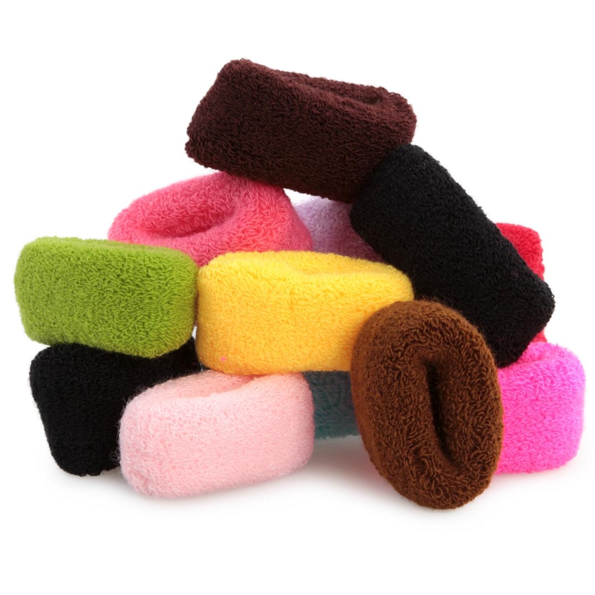 12 ks XL silné gumičky do vlasů  froté, elastické