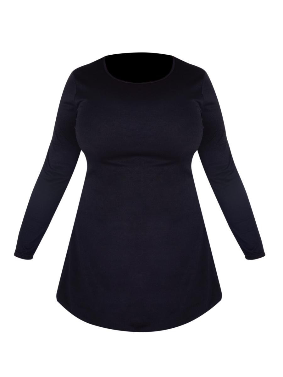 KRISTIE černé šaty s kapsami a dlouhým rukávem