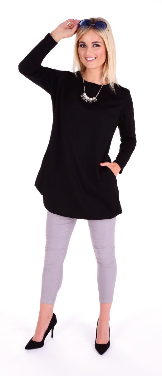 KRISTIE, černé šaty s kapsami