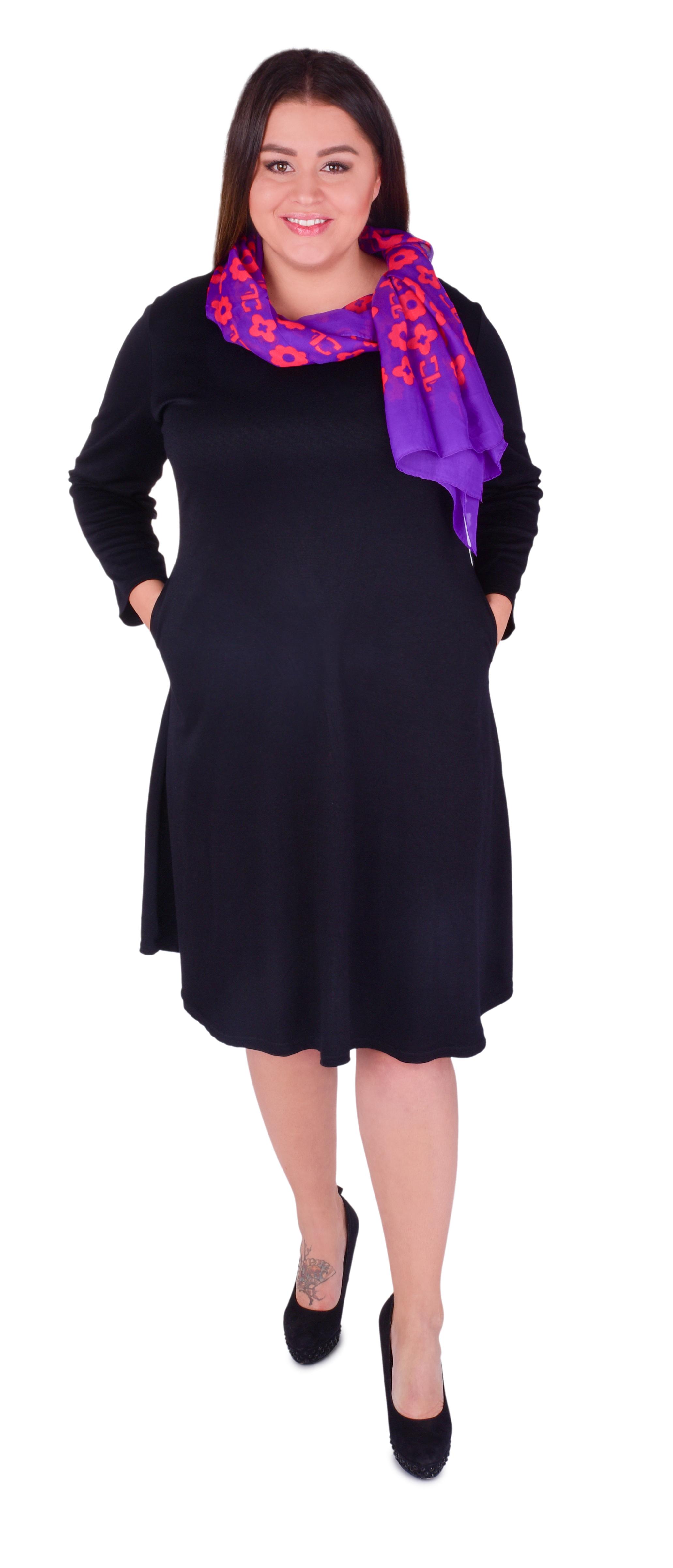 FC20981-CLAUDIE čierne šaty s vreckami s dlhým rukávom