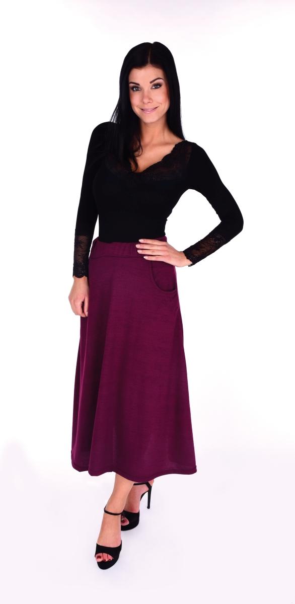 CONNIE módní sukně s kapsami vínová