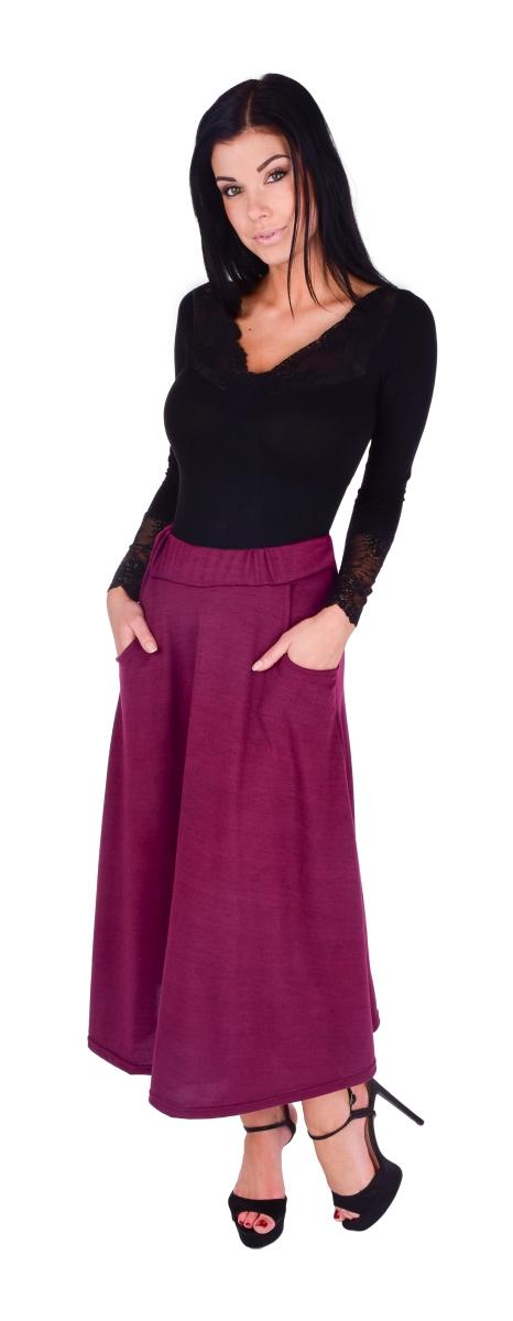 FC20971-CONNIE módne sukne s vreckami vínová