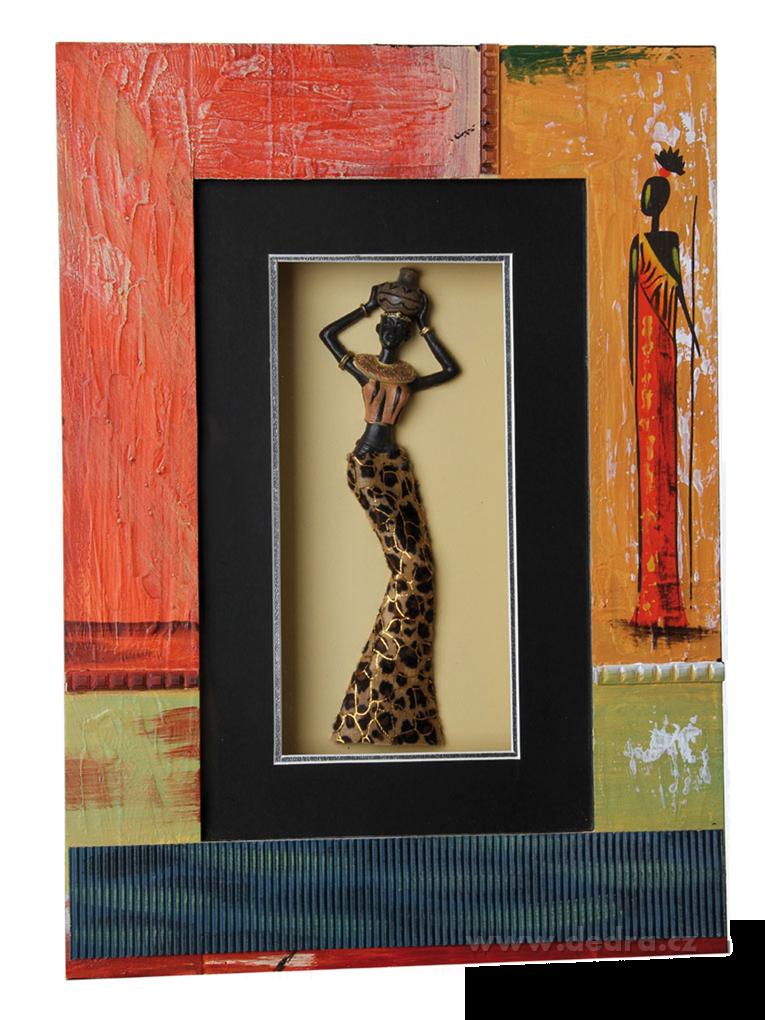Plastika Afričankyve zdobeném ručněmalovaném rámu