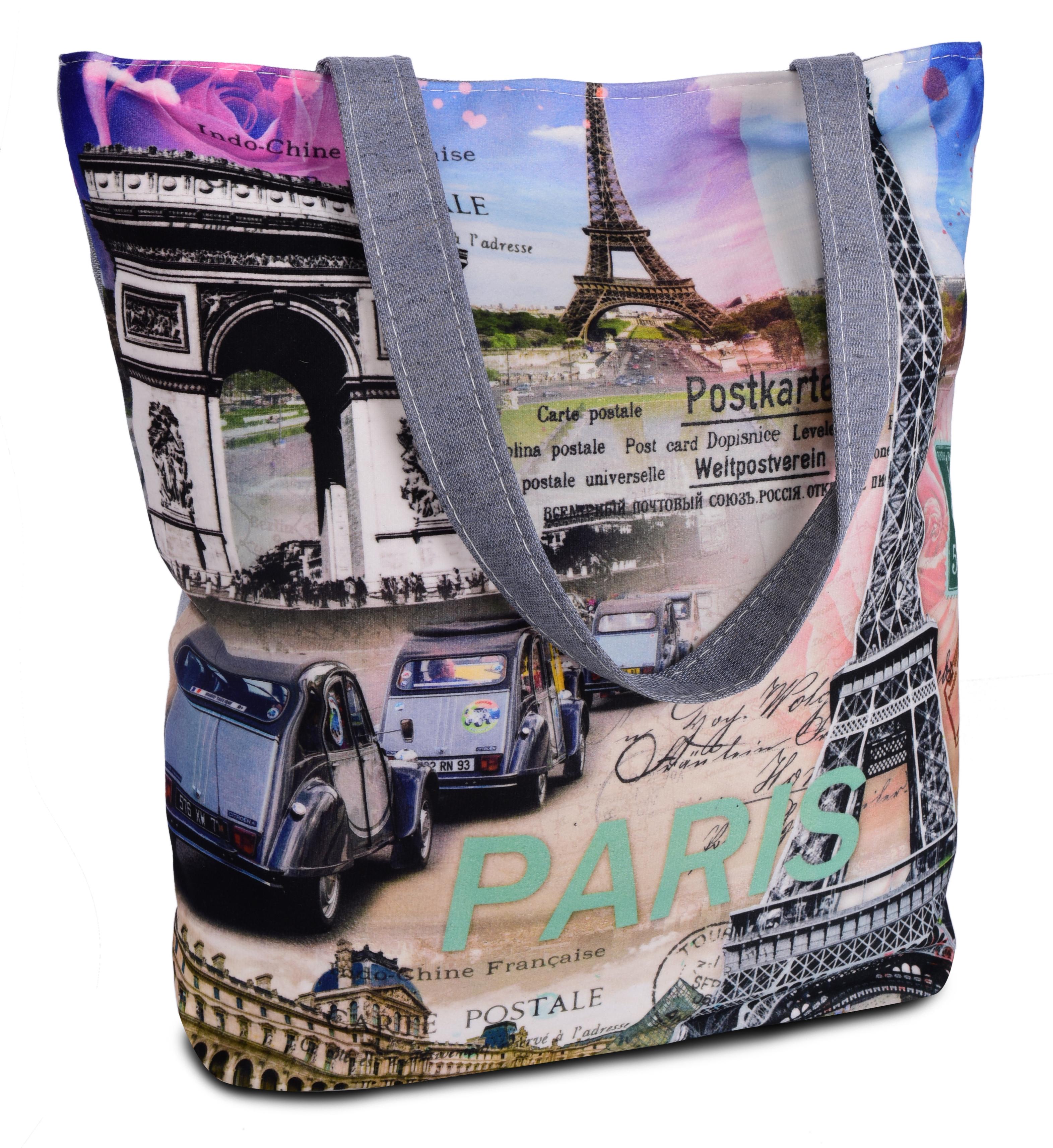 Elegantní taška textilní Paris monuments